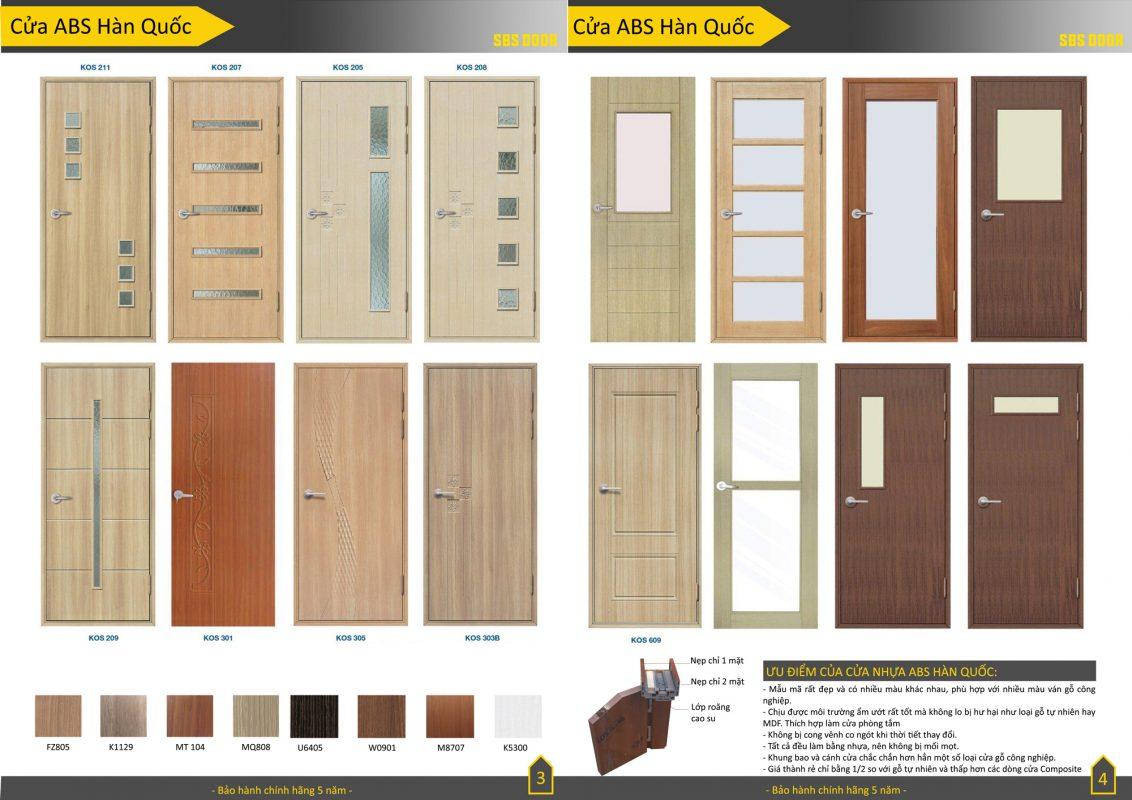 Catalogue cửa nhựa ABS Hàn Quốc