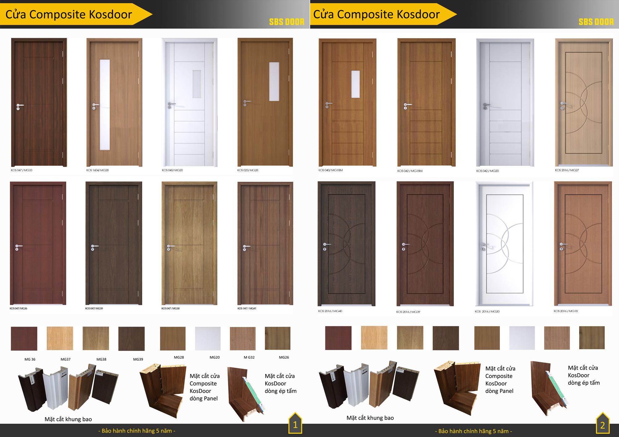 Các mẫu cửa nhựa giả gỗ Composite KOS DOOR