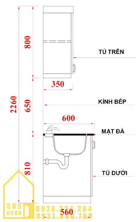Kích thước chuẩn của tủ bếp nhựa Đài Loan